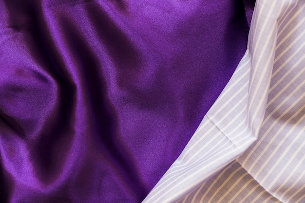 Blue stripes pattern and silky purple textile