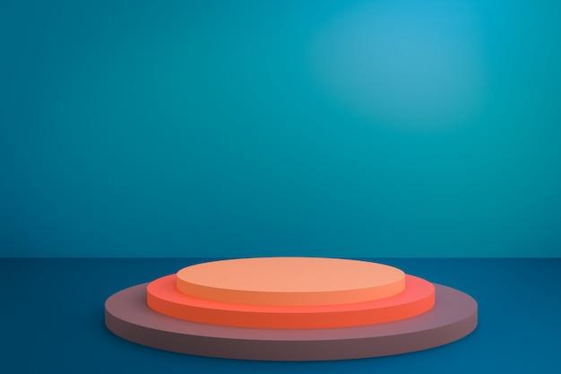 Голубая предпосылка студии с подиумом для настоящего содержания рекламирует модель-макет дизайна продукта знамени. 3d иллюстрация