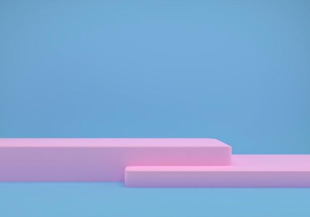 幾何学的な形をした青いスタジオ、床に表彰台。