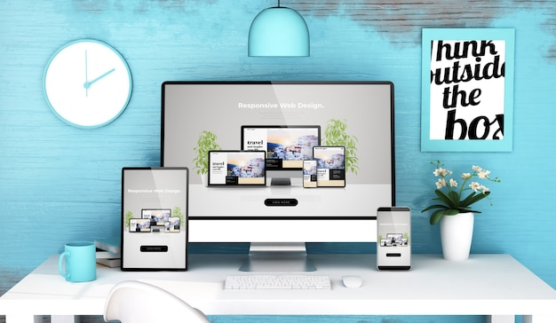 Blue studio with responsive web design on devices mock up 3d rendering
