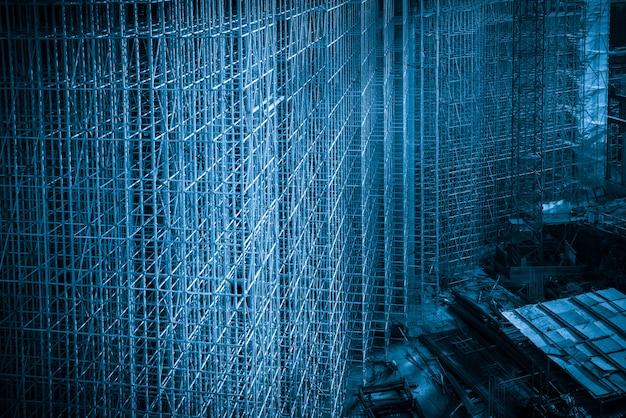 Blue style construction site, building structure frame