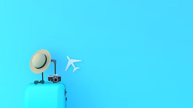 파란색 배경이 있는 관광 및 여행자 개념을 위한 파란색 가방
