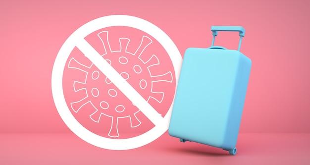 Синий чемодан с предупреждением о коронавирусе 2019-ncov на розовом фоне 3d-рендеринга