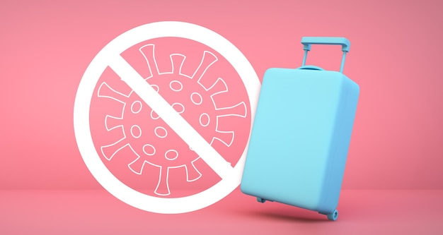 Blue suitcase with coronavirus 2019-ncov warning on pink background 3d rendering