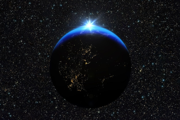 푸른 일출, 우주에서 지구의보기.