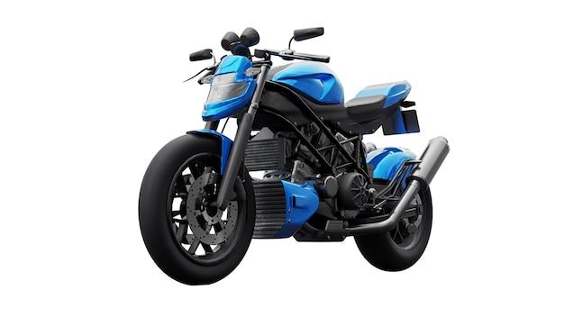 Синий супер спортивный мотоцикл на белом фоне. 3d иллюстрации.