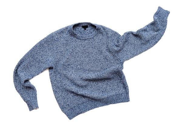 Синий свитер на белом, повседневный винтажный вязаный свитер, шерстяной кардиган, вид сверху