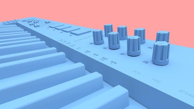 Blue synthesizer midi keyboard 3d rendering