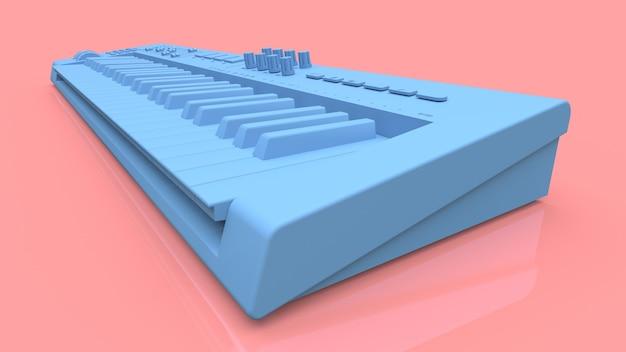 분홍색 표면에 파란색 신디사이저 midi 키보드