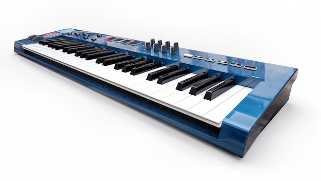 Синий синтезатор midi клавиатуры. синтез ключей крупным планом. 3d-рендеринг.