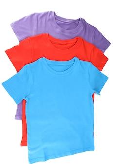 白で隔離の青いtシャツ