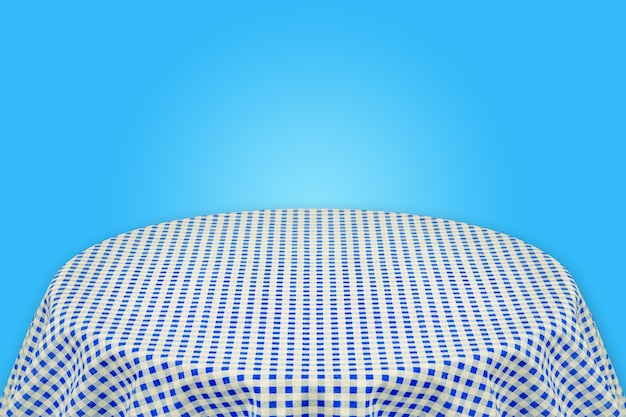 Blue table cloth with blue background . background for plain text or products