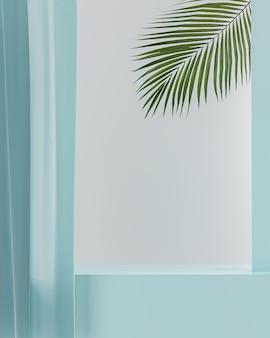 제품 배치 흰색 배경에 대 한 블루 테이블 탑 블루 커튼 3d 렌더링