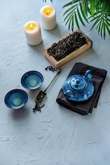 Blue tea set for chinese tea ceremony.
