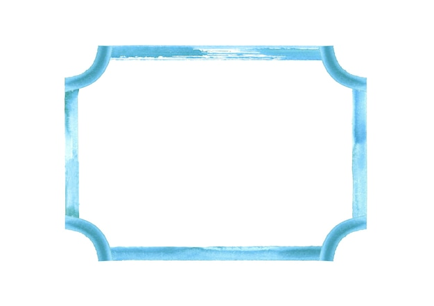 Blue teal turquoise watercolor grunge frame