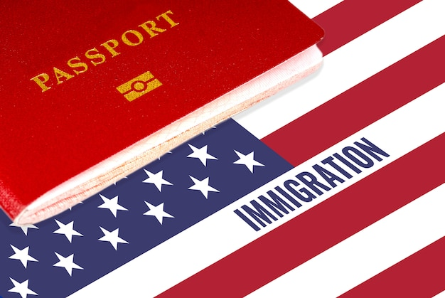 Blue text immigration over united states flag
