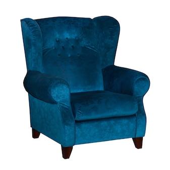 Синий текстильный стул, изолированные на белом фоне