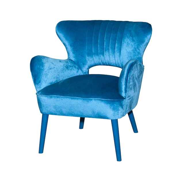 Синий текстильный современный стул, изолированные на белом фоне
