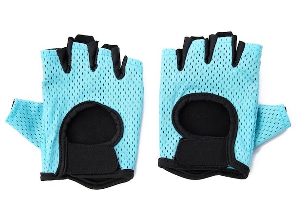 체력 훈련 및 자전거 흰색 배경에 고립 된 파란색 섬유 스포츠 장갑