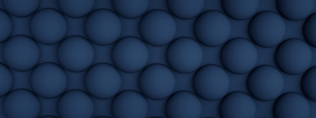 Blue texture with repeated round bumps, 3d render, panoramic image