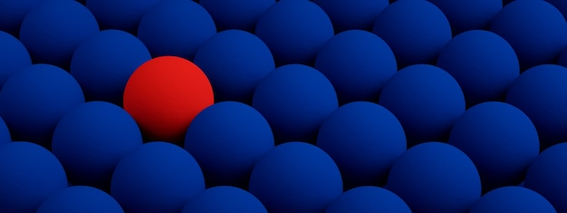 Blue texture with repeated round bumps, leadership concept, 3d render, panoramic image
