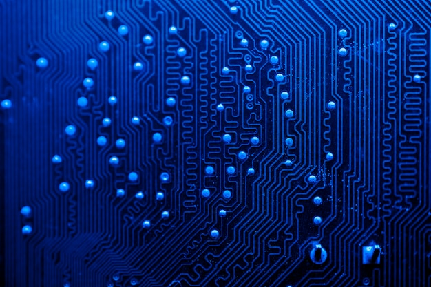 Blue themed circuit board close-up