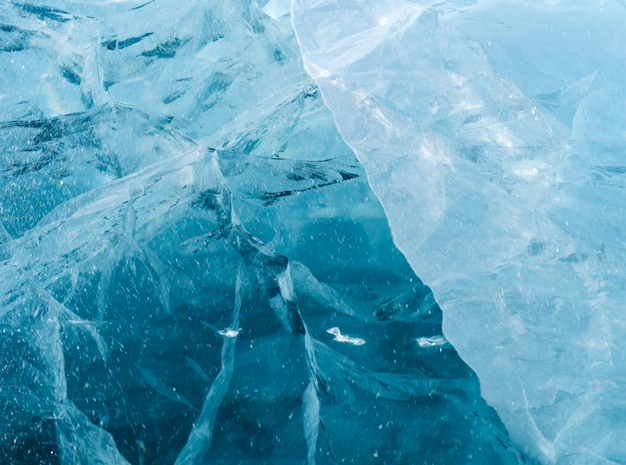 Blue thick ice with many cracks