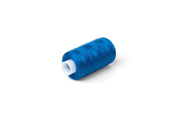 Blue threads on white background.