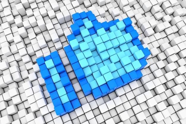 青い親指アップブロックキューブピクセルのようなサイン極端なクローズアップ。 3dレンダリング