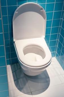 青いタイル張りの部屋スペースとオープンカバー付きの清潔な白いトイレ