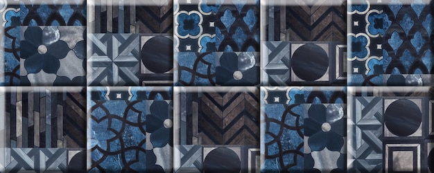 Blue tiles with a pattern and texture of natural marble. element for wall decor. seamless background texture