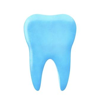 파란색 치아 아이콘은 흰색 배경에 있는 치약에서 나온 것입니다. 3d 렌더링