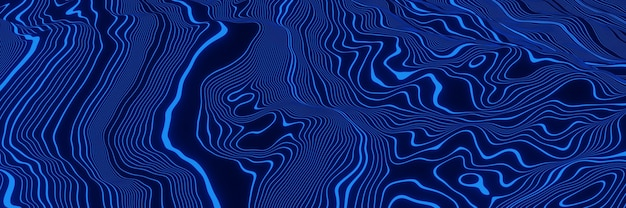 Синие топографические контурные линии. абстрактная гора. 3d иллюстрации.