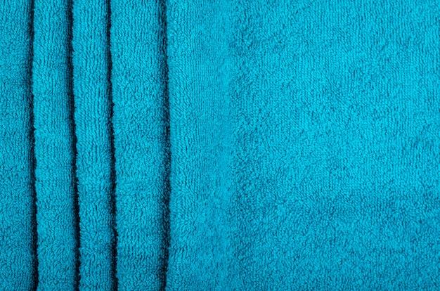 青いタオル生地の質感、上面写真。