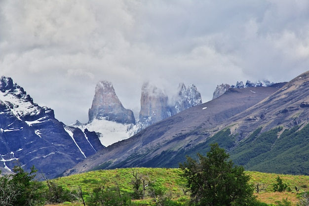Blue towers in torres del paine national park, patagonia, chile