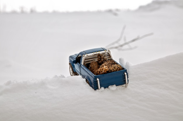제재소의 파란색 장난감 픽업 트럭 눈 더미와 톱밥에 갇힌 전나무 콘을 운반