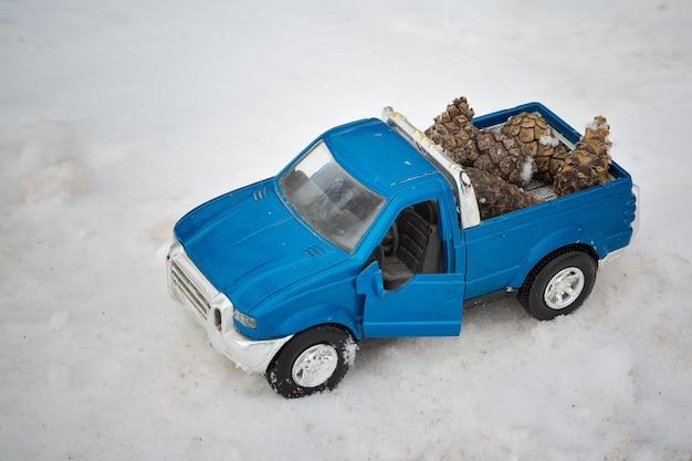 전나무 콘을 들고 문을 열고 도로에 겨울 숲에서 파란색 장난감 픽업 트럭