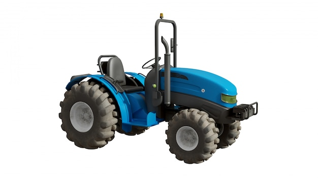 Blue tractor from one side, isolated