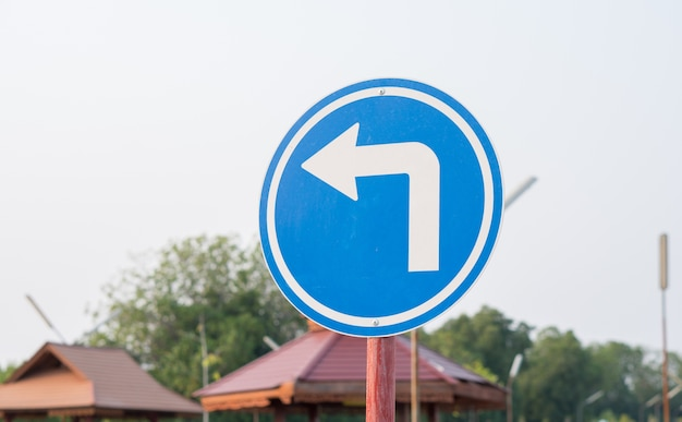 Blue traffic sign symbol use for car drive practice