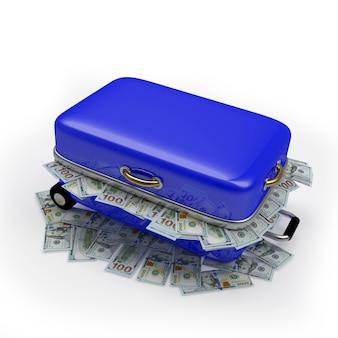 ドル札でいっぱいの青い旅行スーツケース