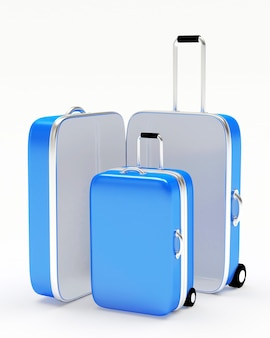 Blue travel suitcases open and closed