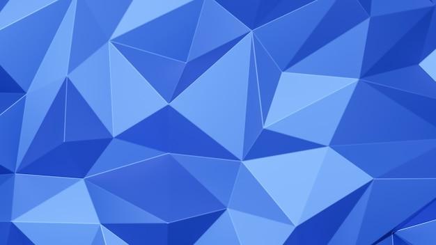 파란색 삼각형 낮은 다각형. 분홍색 기하학적 삼각형 다각형. 추상 모자이크 배경입니다. 3d 렌더링 그림.