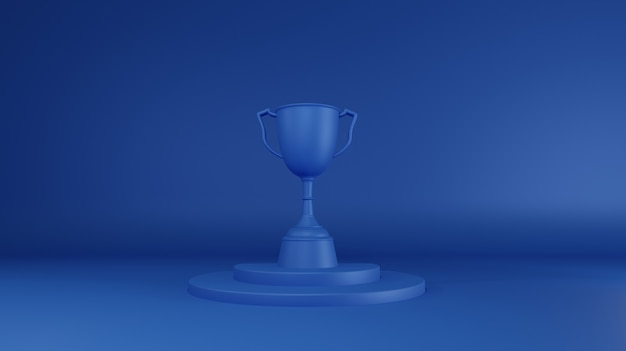 Blue trophy prize. 3d rendering.