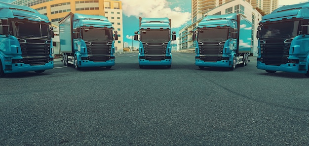 Blue truck parked on the road.