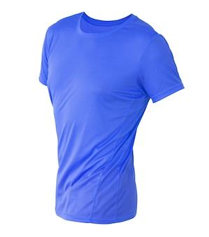 白で隔離される目に見えないマネキンに青い t シャツ テンプレート