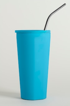 Blue tumbler with a straw design resource