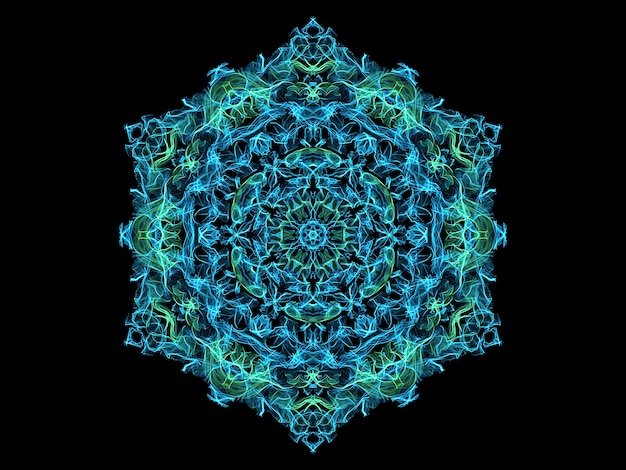 Blue and turquoise abstract flame mandala snowflake, ornamental floral round pattern  yoga theme.