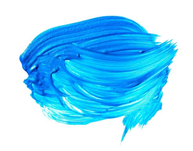 白い背景で隔離の青いターコイズ色のブラシストローク。ターコイズの抽象的なストローク。カラフルな水彩筆ストローク。