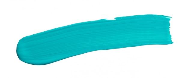 Blue turquoise brush stroke isolated on white