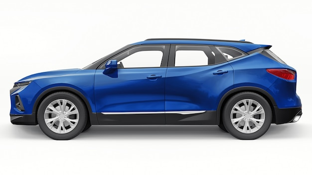 Blue ultra-modern suv with a catchy expressive design for young people and families on a white isolated background. 3d illustration.